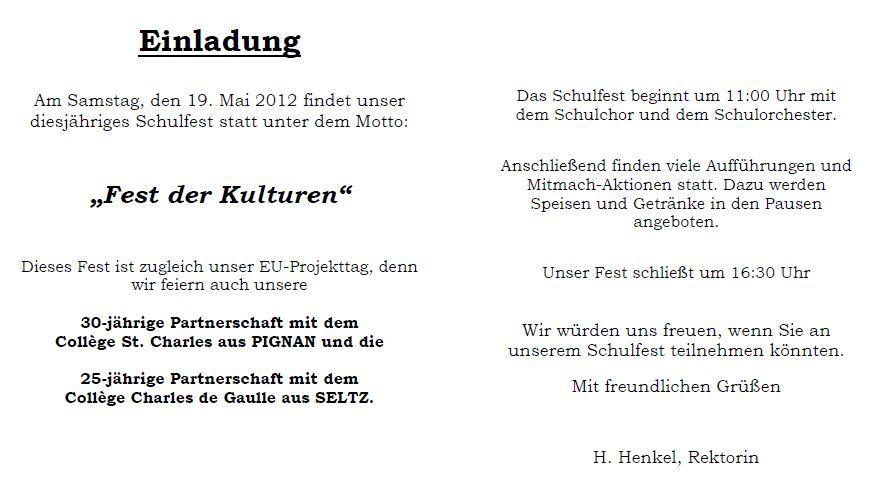 lothar-von-kübel-realschule sinzheim, Einladung